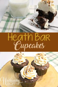 You're going to love these Heath Bar Cupcakes! They're so simple and easy to do but taste like a million bucks! Cupcake Recipes, Baking Recipes, Dessert Recipes, Frosting Recipes, Dinner Recipes, Best Chocolate Desserts, Chocolate Toffee, Easy No Bake Desserts, Delicious Desserts
