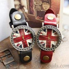 Retro British Flag Watches. Love these.