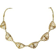 Gorgeous Art Nouveau 18K solid gold necklace, gold filigree bib necklace, French stamped solid gold chain
