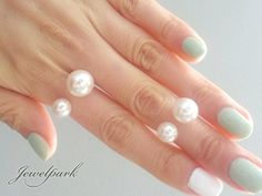 Double 2 Pearls Band Ring & Above The Knuckle Ring by jewelpark