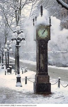Vancouver Steam Clock Gas Town in winter via Tammy Sandstrom