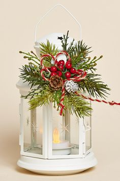 "8"" White Metal Lantern with Removable Holiday Collar and Battery Tea Light"