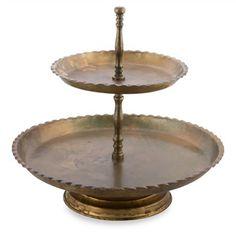 Shivani Iron and Aluminium Two Tier Cake Stand - Burnt Brass