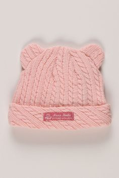 Nana Knits Hermione Handcrafted Cable Knit Hat In Pink