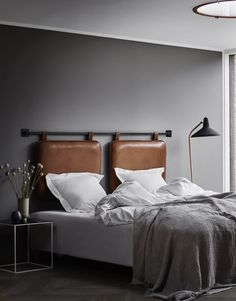 picture place meant Good things come in pairs. The Duo headboard brings the hotel look and feel into your bedroom. The headboard is made in the finest aniline leather and invites yo Floating Headboard, Double Headboard, Cushion Headboard, Leather Headboard, Leather Bed, Brown Leather, Ikea Bedroom, Bedroom Furniture, Bedroom Decor