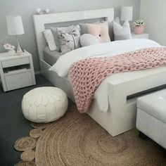 45 Cute And Girly Pink Bedroom Design For Your Home - bedroom - Pink Bedroom Design, Bedroom Designs, Bedroom Styles, Teen Room Designs, Bed Design, House Design, Comfy Bedroom, Master Bedroom, Trendy Bedroom