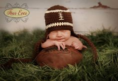Crochet Baby Hat - Football Ear Flap Hat - Ready to Ship - 1-3 Months. $13.00, via Etsy.