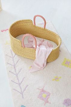 Baby Moses Basket / Natural with Pink Leather Handles Baby Moses, Moses Basket, Pink Leather, Leather Handle, Bassinet, Hand Weaving, Baskets, Espadrilles, Elephant