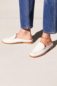 Menswear style slip on loafer in a classic design. - Padded insole - Stacked heel Care/Import Import Measurements - Heel: in - Leather Contents - Leather Fall Shoes, New Shoes, Women's Shoes, Loafer Mules, Loafers For Women, Fashion Shoes, Women's Fashion, Me Too Shoes, Bass