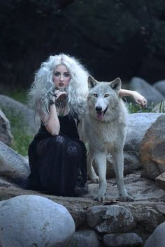 On a photoshoot with a real wolf