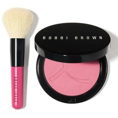Bobbi Brown  Pink Peony Illuminating Blush Set (70 AUD) ❤ liked on Polyvore featuring beauty products, makeup, cheek makeup, blush, pink peony, blending brush, blender brush and bobbi brown cosmetics
