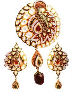 bridal-rajasthani-jewellery Kundan Pendant Set