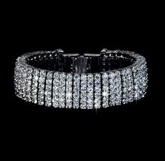 Cubic Zirconia Cuff Wedding Bracelet Wide Diamond Bridal Bracelet Bridesmaid Tennis Bracelet Rhinestone Bracelet Crystal Hollywood, AB0022