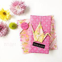 Spring themed gift wrap origami crane. merissa-cherie blog