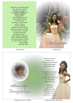 "Quinceanera Card 5...this is a 5"" x 7"" open-close booklet style invitation."