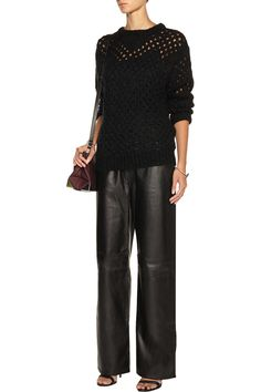 Leather wide-leg pants | T by Alexander Wang | US | THE OUTNET