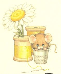 Ruth Morehead Mouse Thimble Spool of Thread Daisy Clipart Baby, Mouse Pictures, Mouse Crafts, Illustration Art, Illustrations, Cute Mouse, Sewing Art, Jolie Photo, Penny Black