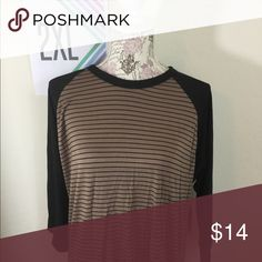LuLaRoe Randy NWT Brown and black stripe body with black sleeves LuLaRoe Tops Tees - Long Sleeve