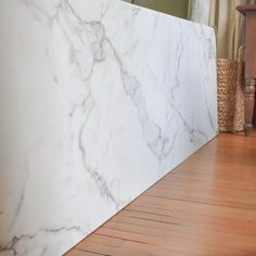 """kitchen countertop Why We Chose Laminate Countertops """"Calcutta Marble"""" Laminate by Formica Lowes - We weighed out the countertop options and chose what was right for our needs. Come see why we chose laminate countertops and are so happy with our decision!"""