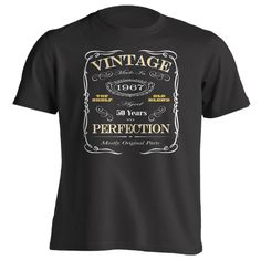 50th Birthday Gift T-Shirt - Born In 1967 - Vintage Aged 50 Years To Perfection - Short Sleeve - Mens - Black - XXX-Large T Shirt - (2017 Version)