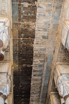 The temple ceiling is covered in soot