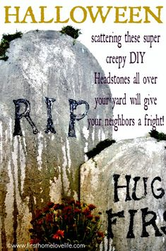 DIY Halloween Tombstones- You won't believe what these are made of! So easy to duplicate, you could literally make hundreds if you wanted to! #Halloween #spooky #fall #gravestone #headstone #diy #tombstone