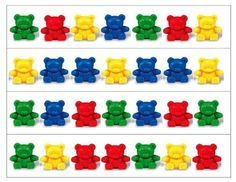 Free! Patterning strips to use with Red, Yellow, Green, and Blue Teddy Bear counters...