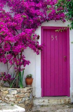 Magenta door with an arch of magenta flowers. Love it mixed with the white walls.