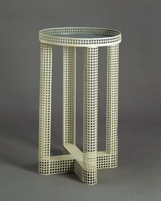 LavishShoestring.com | Smoking table        Place of origin:        Vienna, Austria (made)      Date:        1910 (made)      Artist/Maker:        Hoffmann, Josef, born 1870 - died 1956 (designer)      Wiener Werkstätte (manufacturer)      Materials and Techniques:        White enamelled zinc (re-finished), with a light grey-blue top
