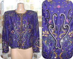 Vintage 80s Sequin Jacket  1980s Embellished by IntrigueU4Ever