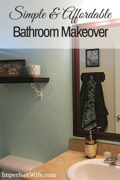 Simple & Affordable Bathroom Makeover| See how I gave my bathroom a makeover for $80 with paint, decorations and DIY mirror frame & towel hooks