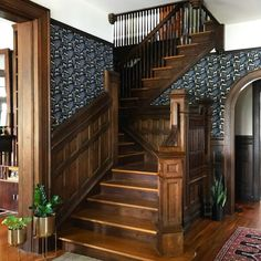 Beautiful wood picture molding meets Serengeti (Ebony) in this entryway shared by Future House, My House, Cheap Bathrooms, Picture On Wood, Victorian Homes, Modern Victorian, Home Improvement Projects, Home Remodeling, Cheap Renovations