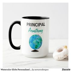 Shop Watercolor Globe Personalized School Principal Mug created by samanndesigns. High School Principal, Principal Gifts, Crayon Monogram, Special Needs Teacher, Science Teacher Gifts, School Items, Personalized Coffee Mugs, Teacher Favorite Things, Teacher Appreciation Gifts