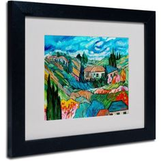 Trademark Fine Art Valley House Canvas Art by Manor Shadian, Black Frame, Size: 11 x 14, Multicolor