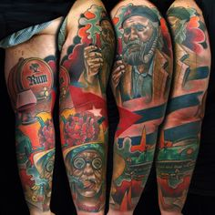 Cuban sleeve by Fishero - Freihand tattoo