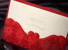 50 Vintage Red Pocket Wedding Invitation; Embossed Invitation Cards for Wedding