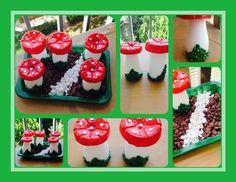Setas u honguitos de envses de plastico como Actimel, tambien ideal para decoracion de jardines o terrazas ... / DIY Luz Arias