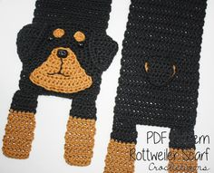 Love your Rottie? Make your own with this Rottweiler Scarf Crochet Pattern
