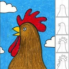 Art Projects for Kids: How to Draw a Rooster This site SUCH a great resource for art lessons! Art Drawings For Kids, Drawing For Kids, Animal Drawings, Art For Kids, Drawing Animals, Drawing Drawing, Drawing Ideas, School Art Projects, Projects For Kids