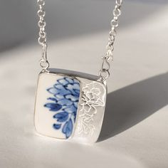 Years. Original design silver Blue and white porcelain Pendants