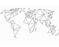 World map string art pattern Geometric Drawing, Geometric Art, Karten Tattoos, Map Tattoos, Tattoo Drawings, Tape Art, Wall Drawing, Origami Animals, Geometric Designs