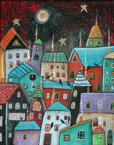 Gingerbread Houses by the Artist Karla Gerard, фото № 13 Karla Gerard, Art Fantaisiste, Cityscape Art, House Quilts, Naive Art, Whimsical Art, Doodle Art, Painting Inspiration, Home Art