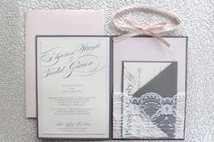 Blush Pink Grey and Lace Invitation by AlexandriaLindo on Etsy, $6.00