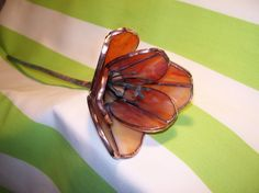 Gorgeous tulip in copper cream, #stainedglass creation by #GlassKissinCreations on #Etsy.  Love this color pallette for fall! $45.00