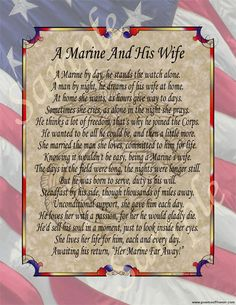 """""""A Marine and his Wife"""" I think this can apply to girlfriends too"""