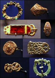 Anglo-Saxon jewelry: buckles and belt-ends, circa Ashmolean Museum, Oxford, England Medieval Jewelry, Viking Jewelry, Ancient Jewelry, Antique Jewelry, Anglo Saxon History, Ancient History, Vikings, Sutton Hoo, Cinema Tv