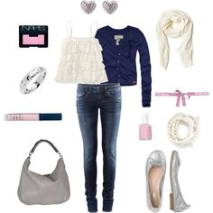 navy blue + white + baby pink + silver