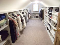 10 Accomplished Clever Tips: Attic Closet How To Build attic apartment sleeping nook.Attic Closet How To Build. Attic Storage, Closet Storage, Bedroom Storage, Attic Organization, Storage Cart, Storage Boxes, Attic Closet, Closet Bedroom, Attic Wardrobe