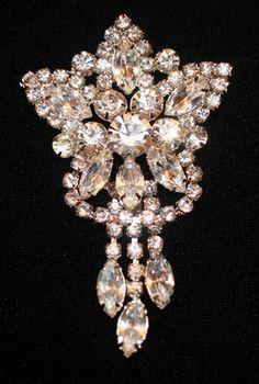 Vintage Eisenberg Sparkling Ice Clear Rhinestone Deco Star Dangle Brooch Pin   eBay