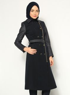 Wool Textured Coat - Navy Blue - YAgMUR